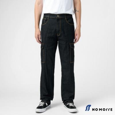 NoMorre 經典彈力多袋直筒丹寧工作褲-黑色