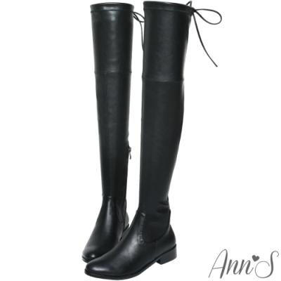 Ann'S XXS版-激窄不掉筒不滑落防滑膠條過膝靴-羊紋黑
