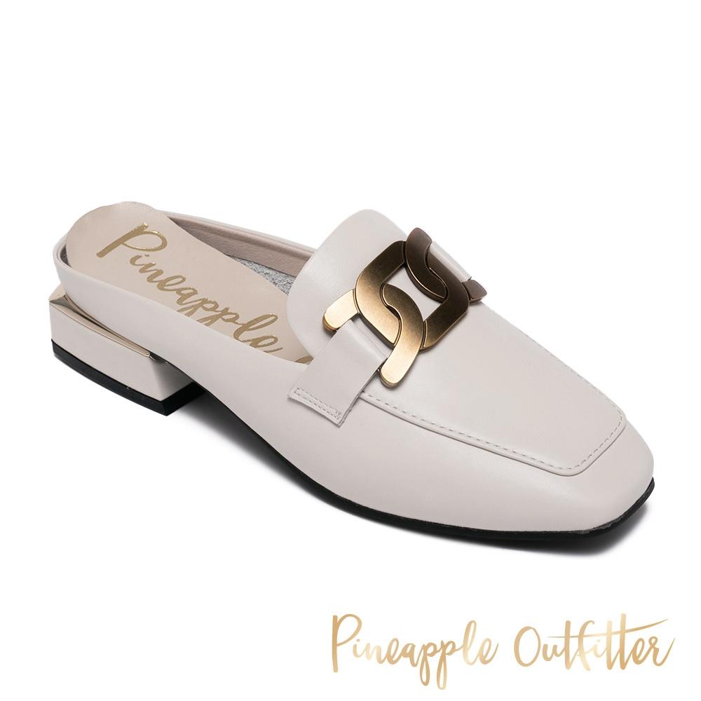Pineapple Outfitter-REVA 金屬飾釦方頭低跟穆勒拖鞋-白色