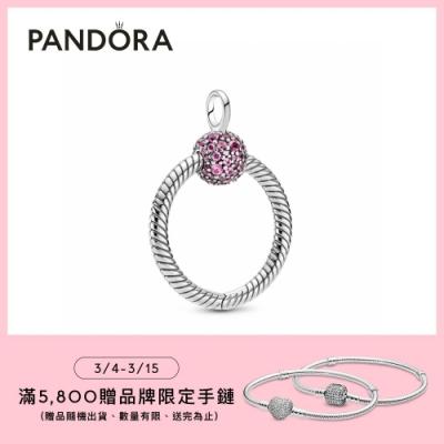 【Pandora官方直營】Pandora Moments 系列小型粉紅密鑲皇冠O項鏈環