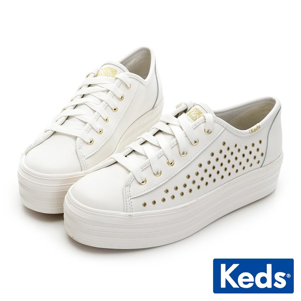 Keds TRIPLE UP 金屬沖孔皮革厚底休閒鞋-白
