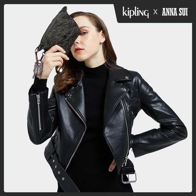 Kipling Kipling x ANNA SUI 華麗黑蝴蝶壓紋拉鍊大開口手拿包-ART POUCH MINI