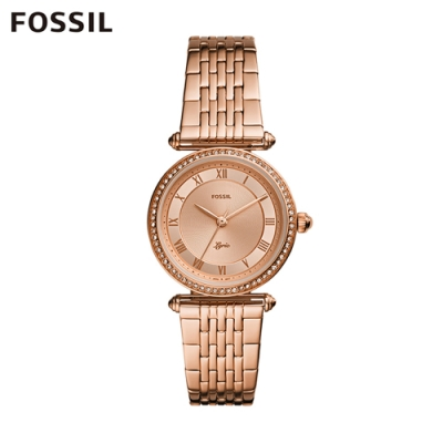 FOSSIL LYRIC 詩意流韻圓形鍊帶女錶-玫瑰金色 32MM ES4711