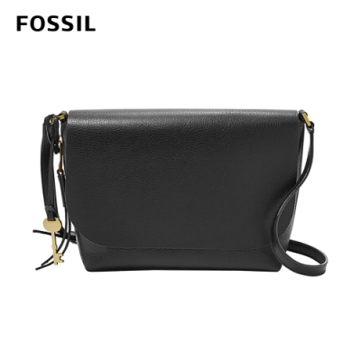 FOSSIL MAYA 俐落簡約真皮可加大側背包 -黑色 ZB7615001