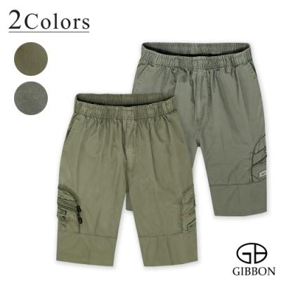 GIBBON 鬆緊純棉休閒工作短褲-二色