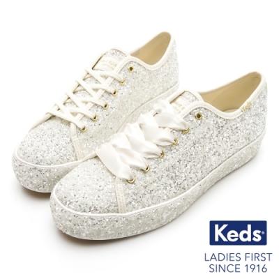 Keds x Kate Spade 聯名款 TRIPLE 婚禮璀璨緞帶厚底休閒鞋-奶油白