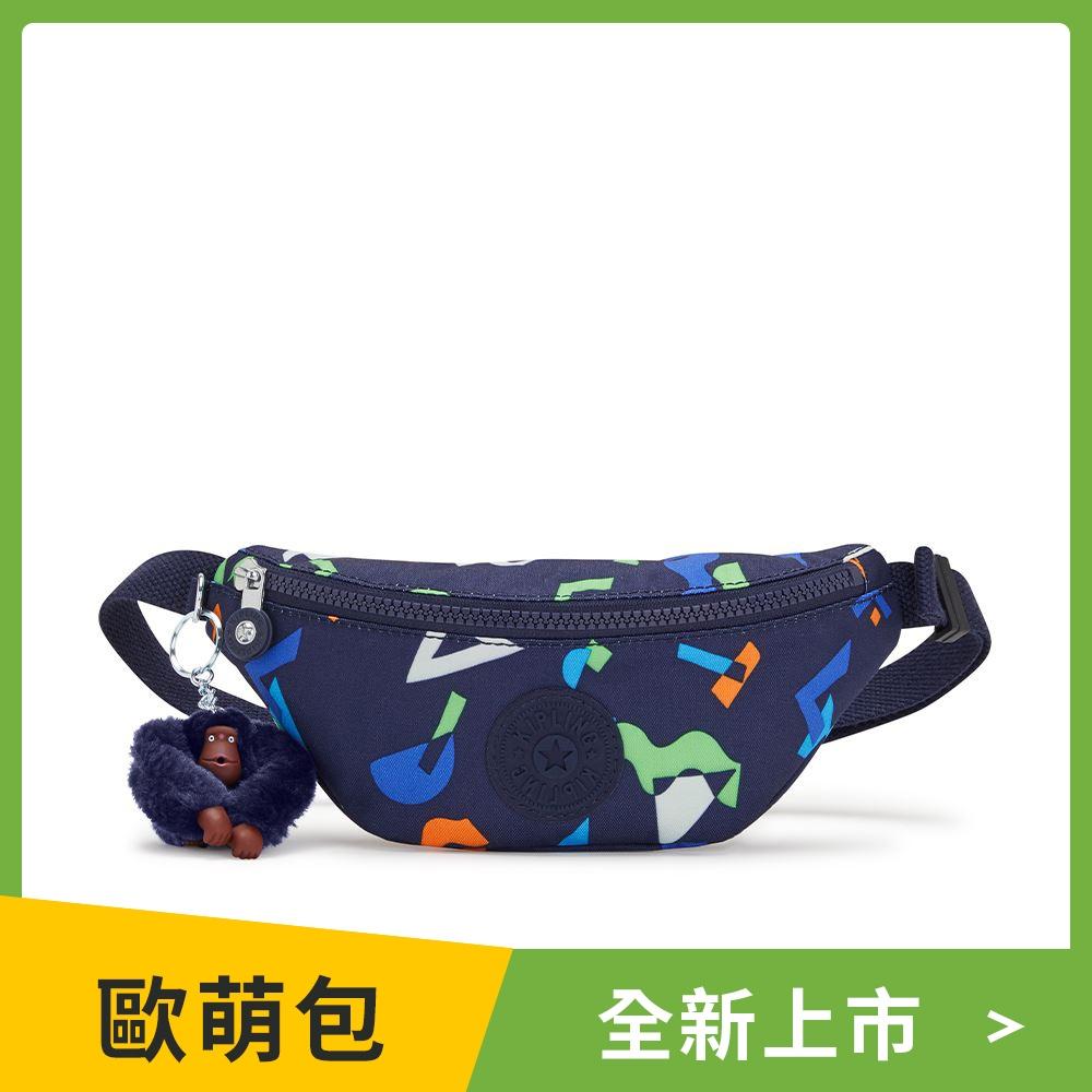 Kipling 童趣幾何圖騰隨身腰包-HAPPY