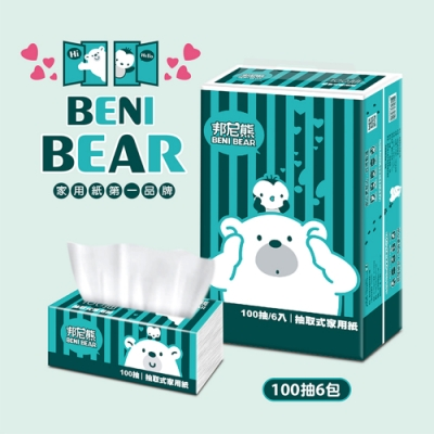 BeniBear邦尼熊復古Tiffany藍條紋抽取式家用紙100抽6包8袋