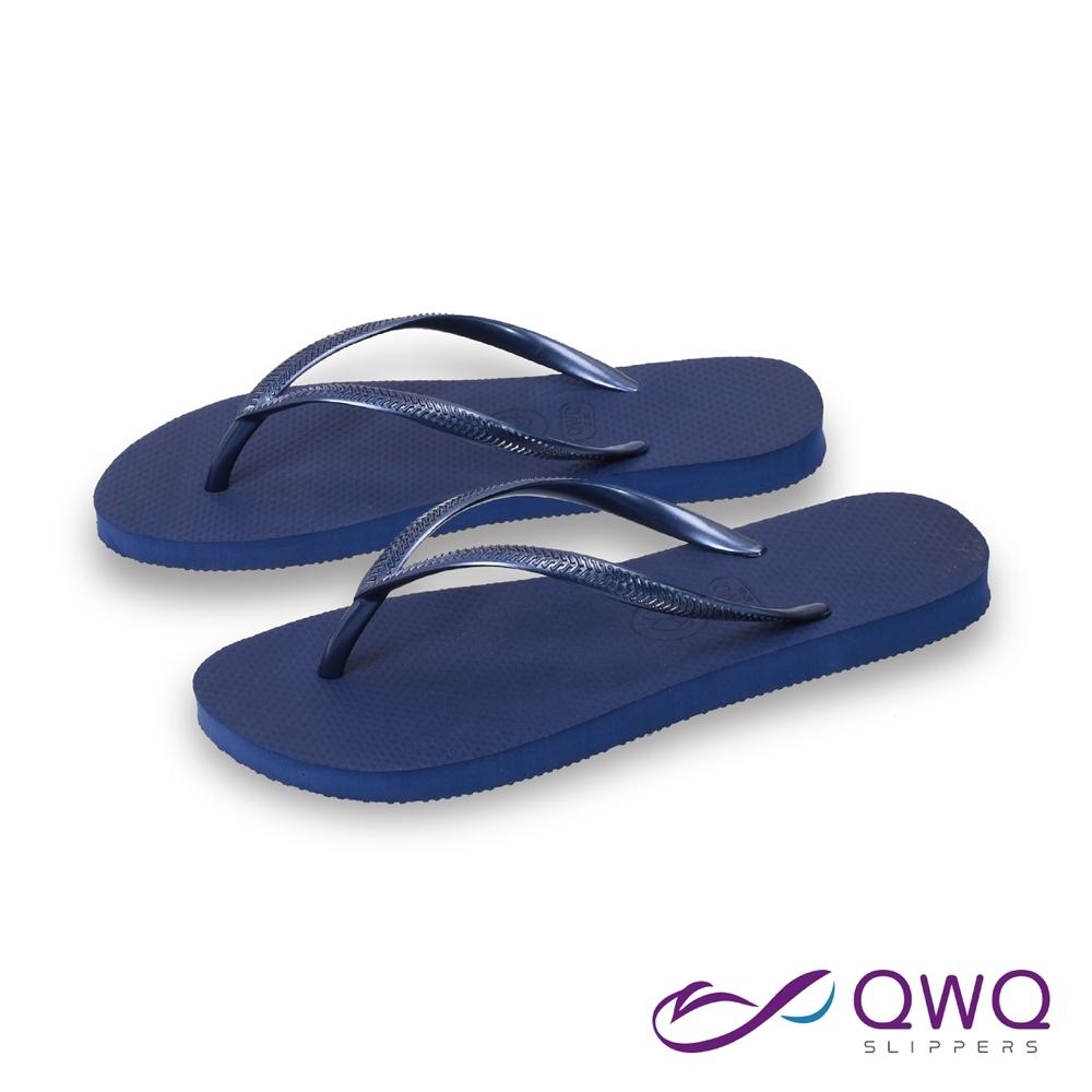 女款平底素面人字拖鞋-前低後高-天然軟Q腳底觸感佳-鞋帶保固-Slim窈窕系列-藏青藍