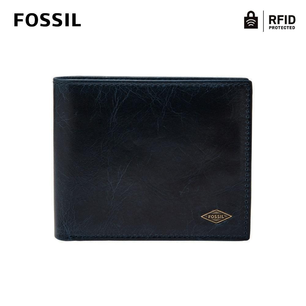 FOSSIL RYAN 真皮RFID大零錢袋男夾-墨藍色 ML3736400