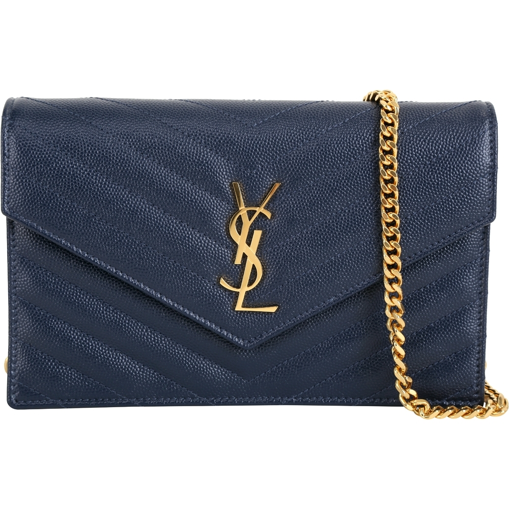 YSL Saint Laurent MONOGRAM 小型絎縫荔紋牛皮鍊帶信封包(深藍)
