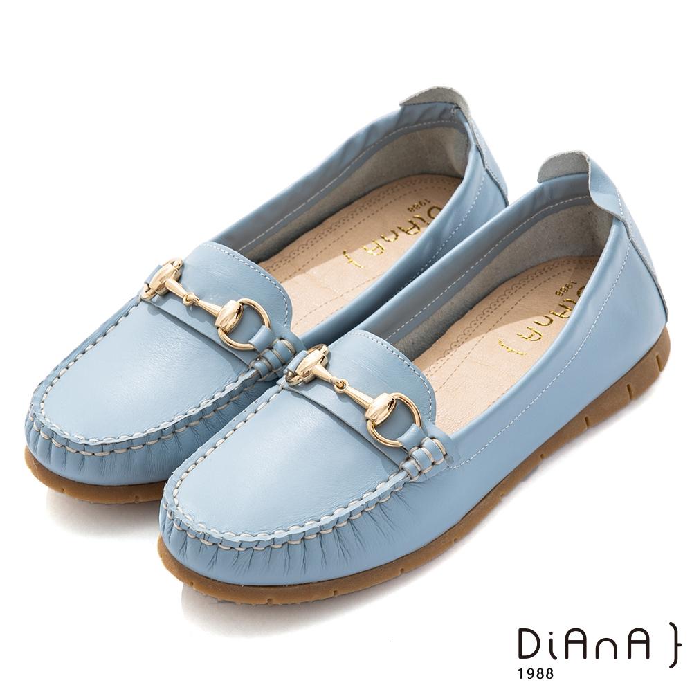 DIANA 2cm質感軟牛皮俏麗果汁系馬銜釦莫卡辛休閒鞋-漫步雲端焦糖美人-淺藍