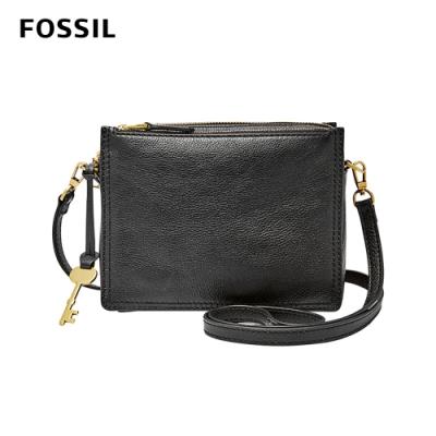 FOSSIL CAMPBELL 多夾層真皮立體小方包-黑色 ZB7264001