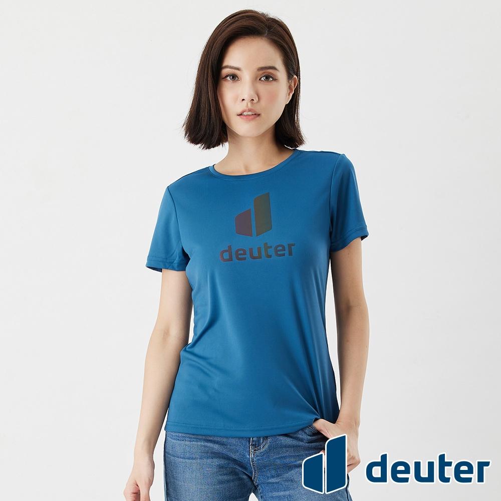 【deuter 德國】女款經典炫光LOGO休閒短袖T恤DE-T2102W海藍/吸濕排汗/輕薄透氣/反光圖T