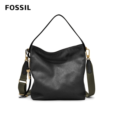 FOSSIL MAYA HOBO斜背/肩背兩用包-黑色 ZB6979001