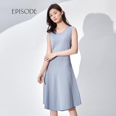 EPISODE - 修身圓領優雅甜美煙灰藍色無袖洋裝