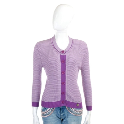 SEE BY CHLOE 紫白色格紋針織外套
