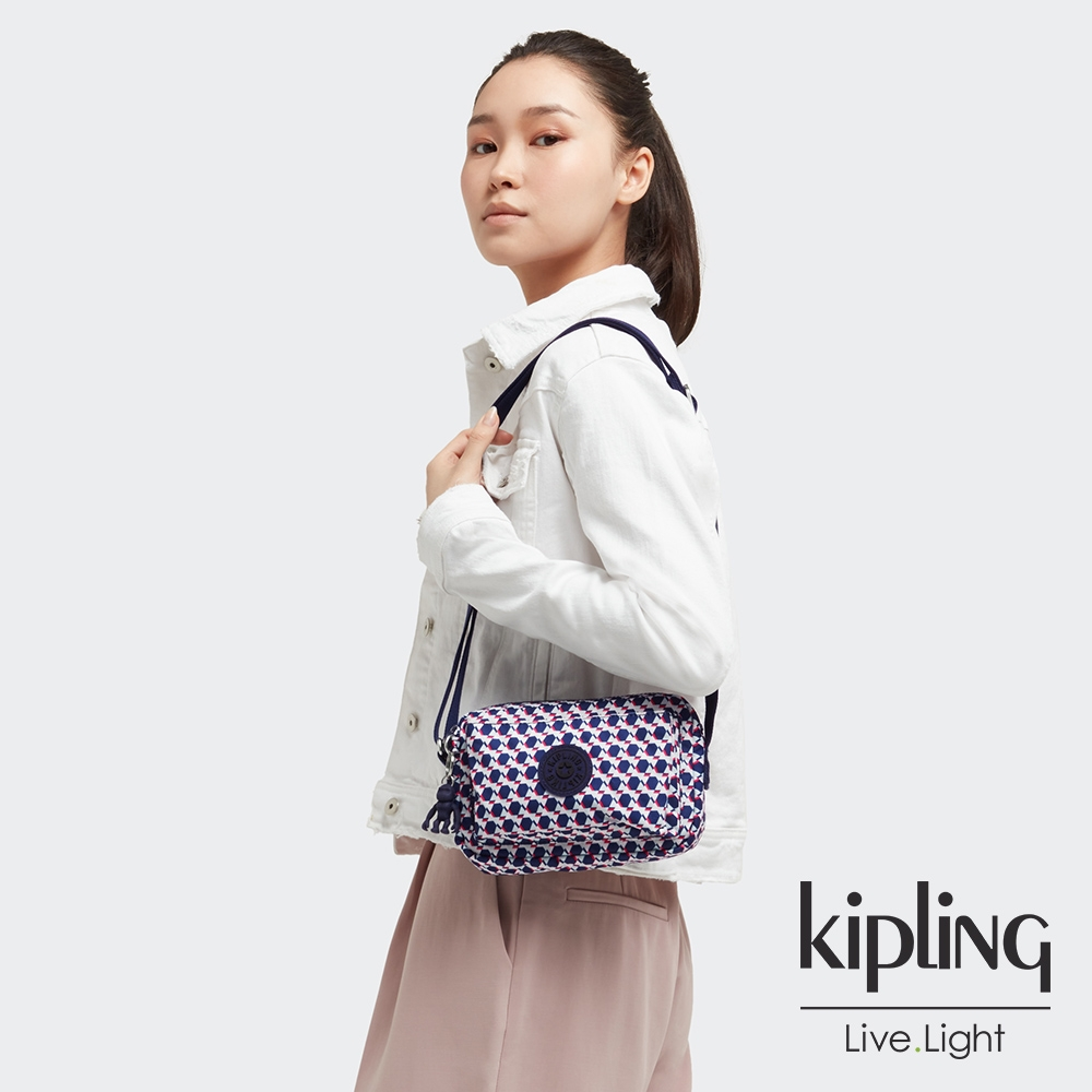 Kipling 典雅幾何印花前後加寬收納側背包-ABANU