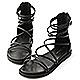 D+AF 真夏個性.雙交叉細帶羅馬涼鞋*黑 product thumbnail 1