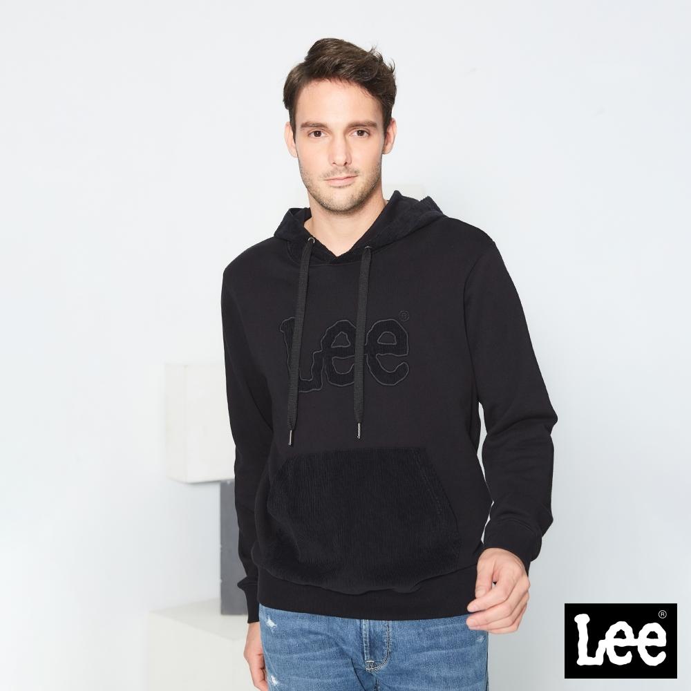 Lee帽T LEE燈心絨LOGO長袖連帽厚TEE 男款 黑色