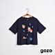 gozo 品牌標語印花短版造型上衣(三色) product thumbnail 1