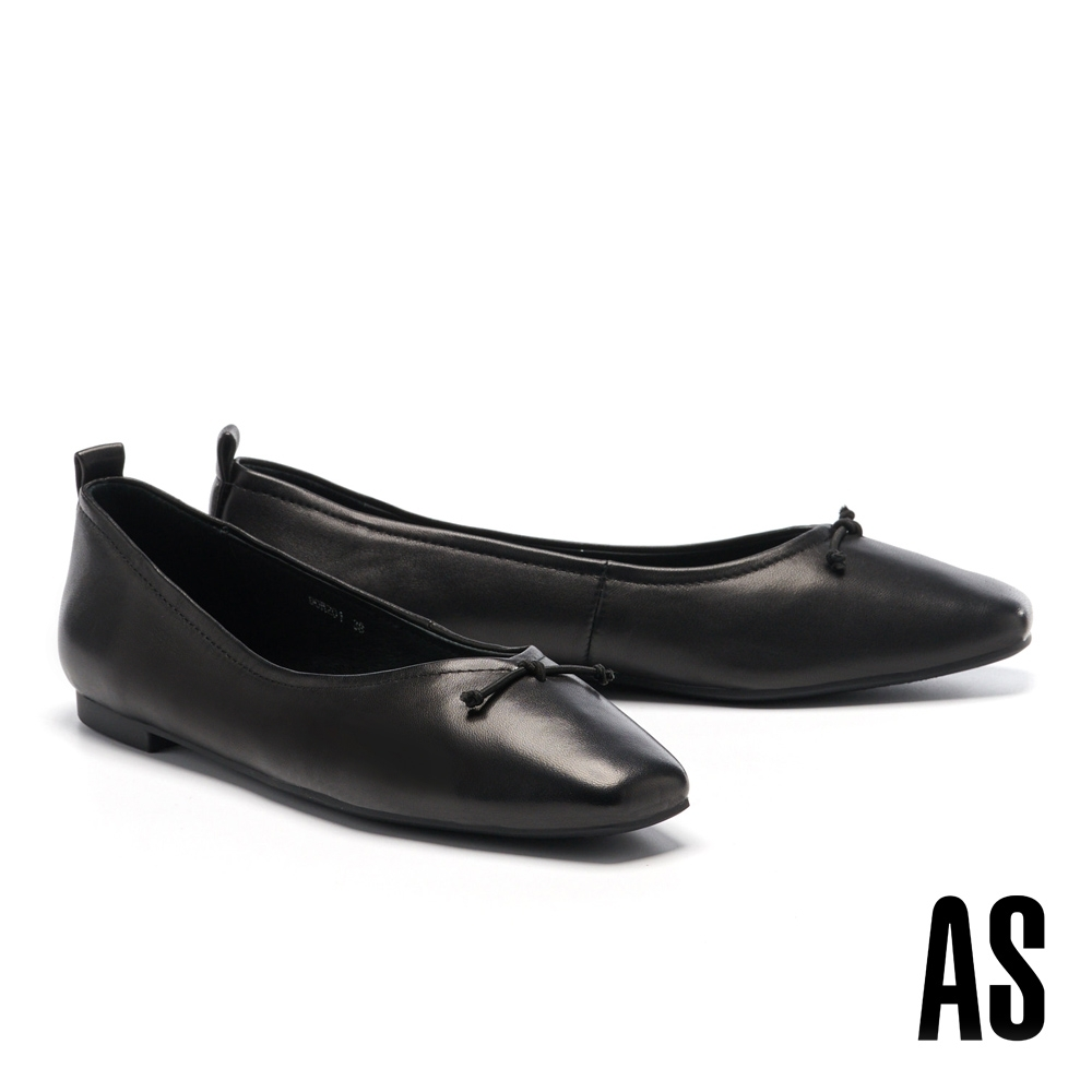 平底鞋 AS 舒適質感鬆緊股帶全真皮方頭平底鞋-黑