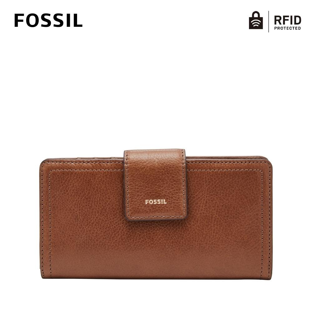 FOSSIL LOGAN 真皮系列拉鍊零錢袋設計中夾-咖啡色 SL7830200