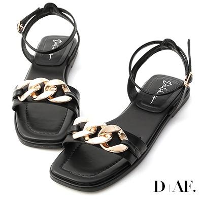 D+AF 輕奢品味.金屬環釦一字平底涼鞋*黑