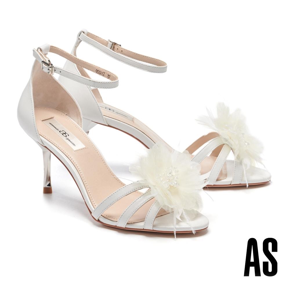 涼鞋 AS 法式風情可拆式花朵釦飾全羊皮高跟涼鞋-白