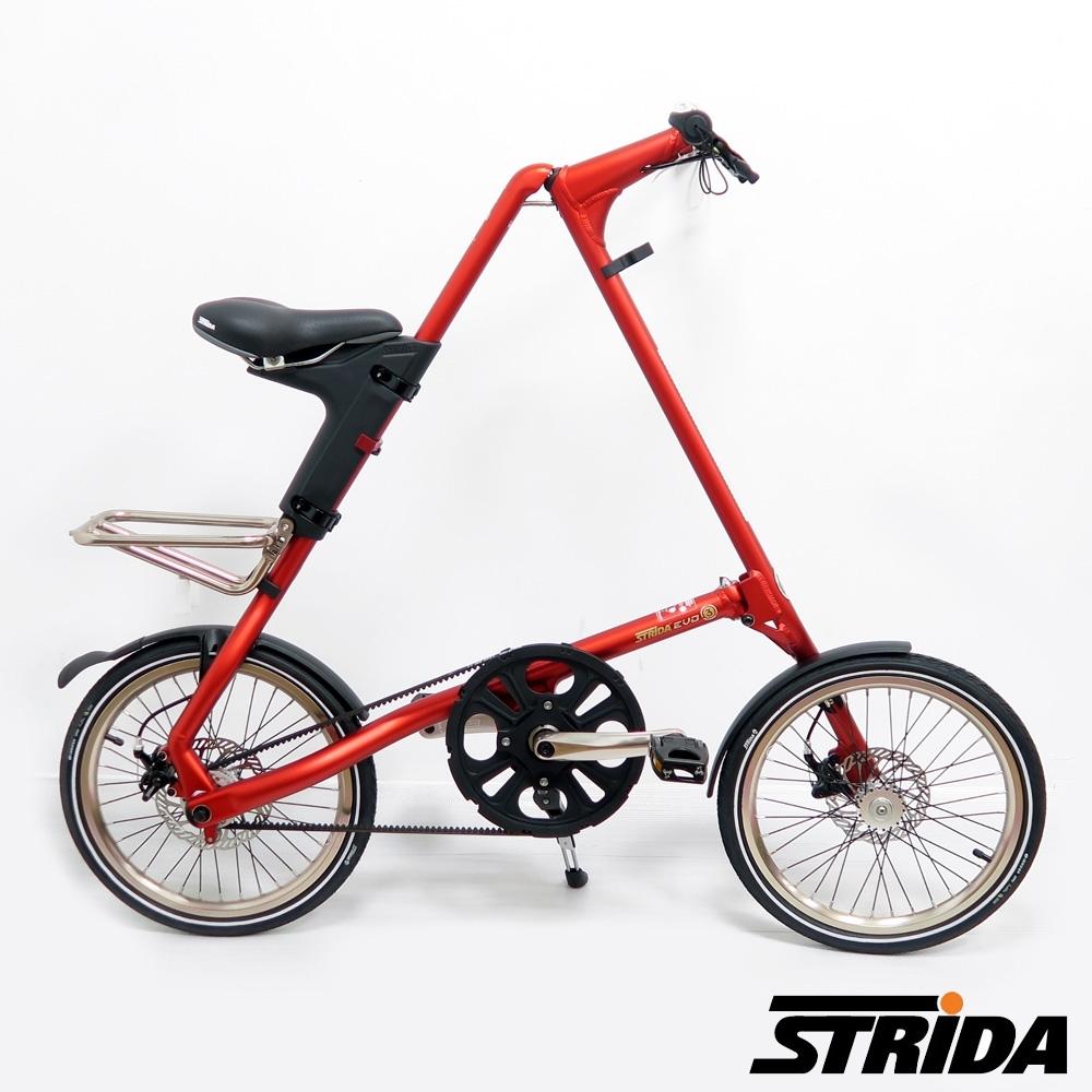 英國STRiDA速立達 EVO版18吋內變3速 碟剎/皮帶傳動/折疊後可推行/三角形單車-霧紅色