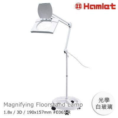 【Hamlet】1.8x/3D 方型大鏡面LED護眼檯燈放大鏡 落地輪架式 E065-R