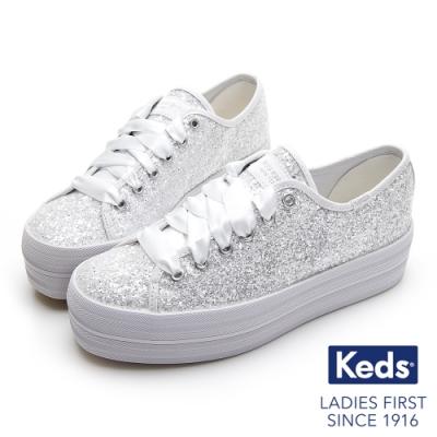 Keds x kate spade TRIPLE UP 婚禮增高厚底緞帶休閒鞋-白色亮片