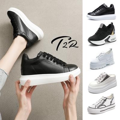 時時樂限定-T2R-正韓空運-真皮&網布&水鑽增高休閒鞋-增高7-9公分-多款多色