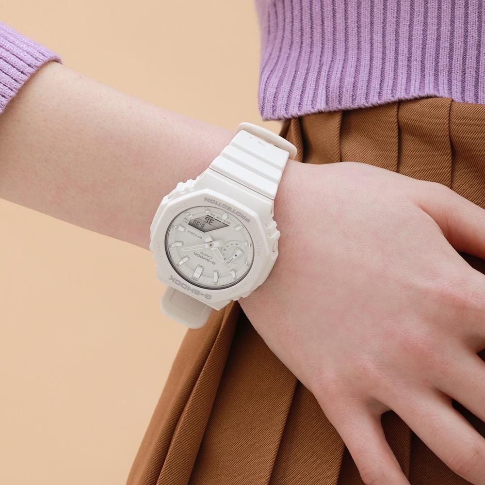 CASIO卡西歐 G-SHOCK 簡約輕薄 消光白 八角型錶殼 GMA-S2100-7A_42.9mm