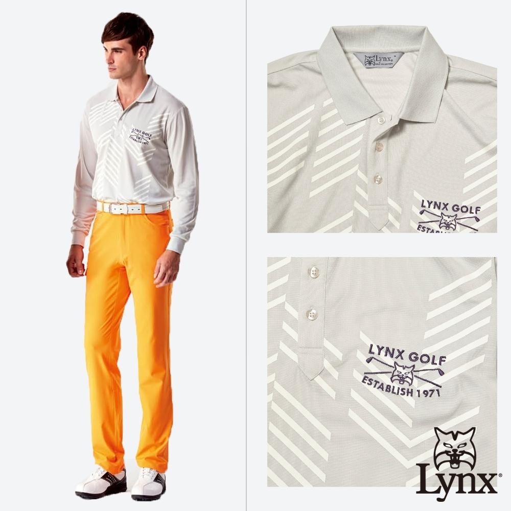 【Lynx Golf】男款吸濕排汗網眼材質不規則條紋長袖POLO衫-淺灰色