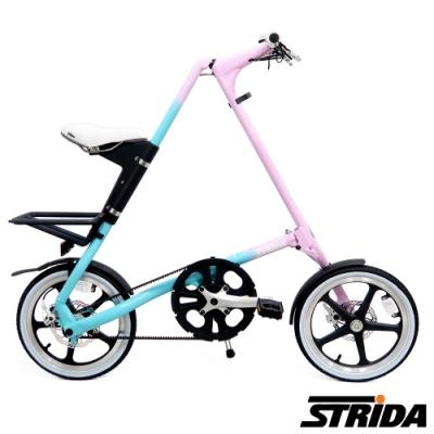 英國STRiDA速立達 LT版16吋單速碟剎/皮帶傳動/折疊後可推行/三角形單車-漸層色