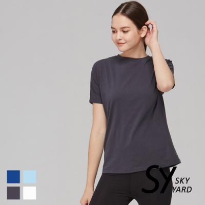 【SKY YARD 天空花園】舒適棉素面寬袖圓領休閒上衣-鐵灰