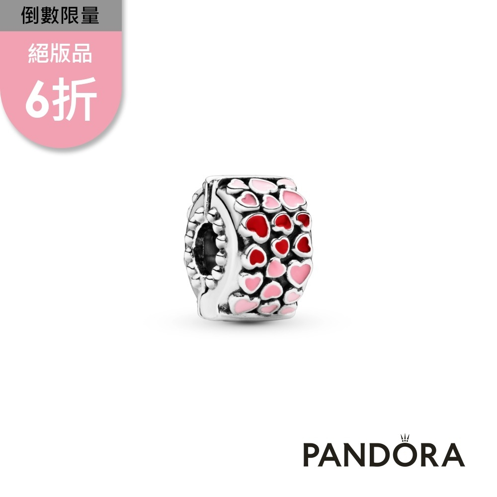 【Pandora官方直營】紅配粉紅之心串飾