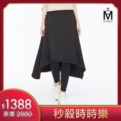 [時時樂限定]麥雪爾 MA厚綿鬆緊腰身假兩件裙褲-黑