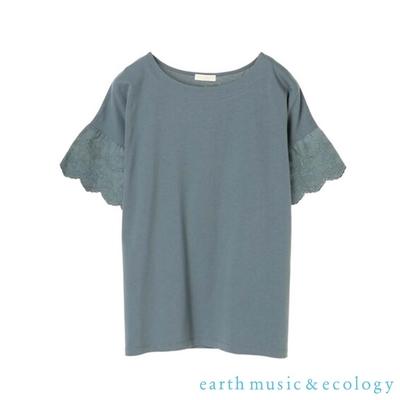 earth music 扇形蕾絲袖拼接純棉短袖T恤