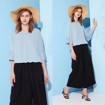 【MASTINA】袖口壓褶收腰-女短袖襯衫(二色/版型適中)