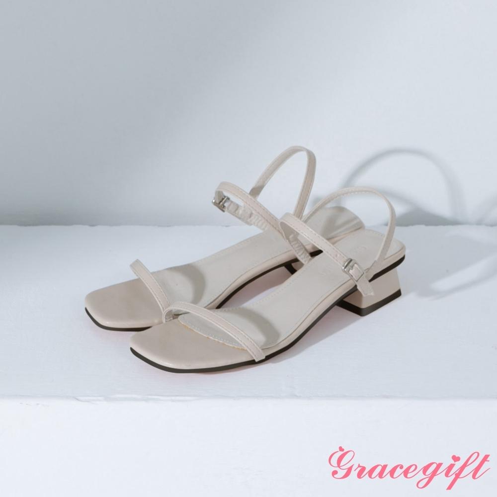 Grace gift-方頭一字繫踝中跟涼鞋 米白