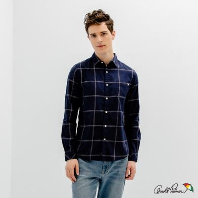 Arnold Palmer -男裝-純棉府綢格子襯衫-藍色