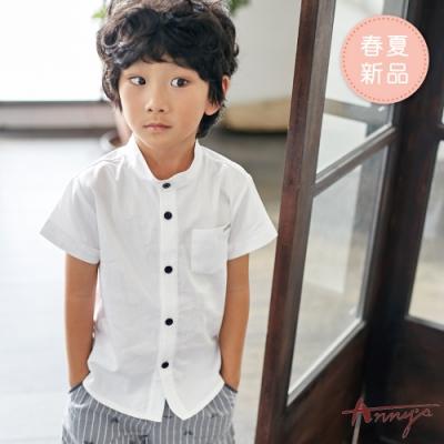 Annys安妮公主-黑排扣單口袋微立領春夏款男短袖純棉襯衫*9376白色