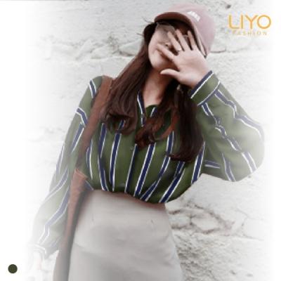 襯衫-LIYO理優-抗菌除臭條紋翻領修身顯瘦襯衫