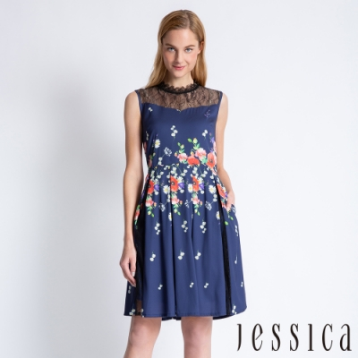 JESSICA - 蕾絲拼接印花洋裝(深藍)