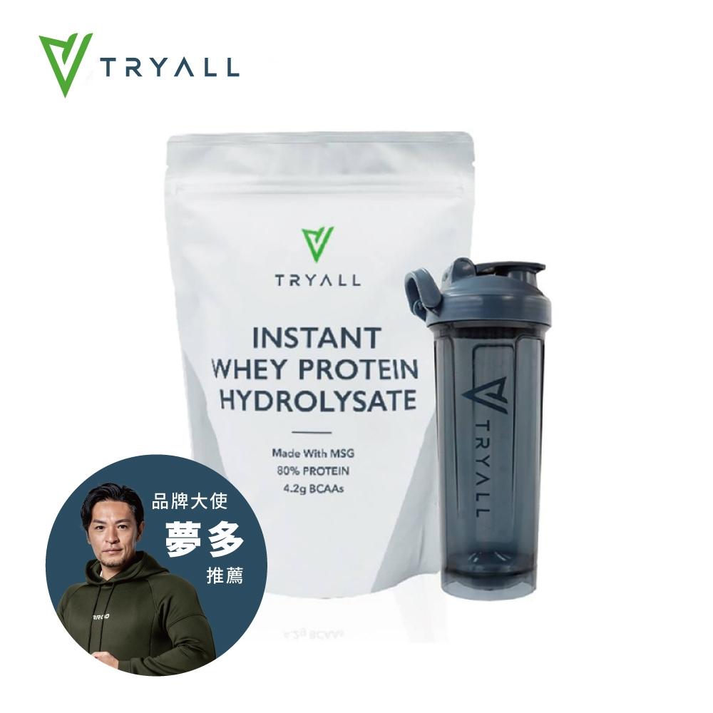【台灣 Tryall】水解乳清蛋白(500g/袋)+[台灣 Tryall] Tritan U底搖搖杯(700ml) 藍灰