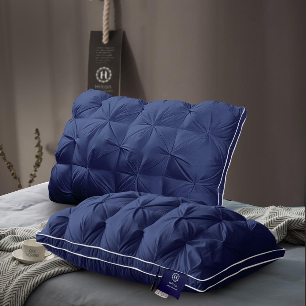 【Hilton 希爾頓】五星級VIP。白鵝羽毛輕柔精梳棉立體枕/藍色(B0952-AN)