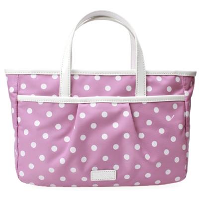 agnes b. voyage 點點漆皮飾邊輕便手提包(粉紫)