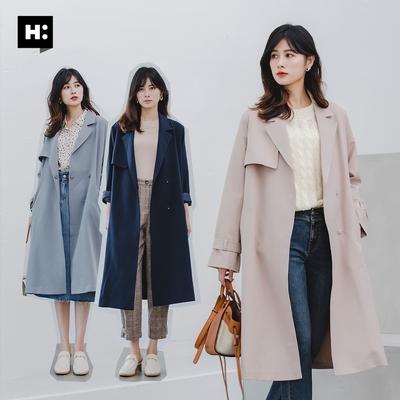 (超品日)H:CONNECT 韓國品牌 女裝 -俐落長版風衣外套-三色